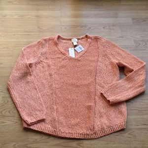Chico's Size 2 Sparkly Gingered Peach Sweater